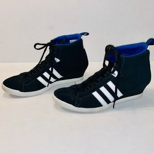Black adidas with blue top size 8 1/2
